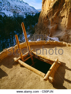 Ladder and kiva entrance in 'Alcove House' aka 'Ceremonial Cave' [Bandelier National Monument] - Stock Photo