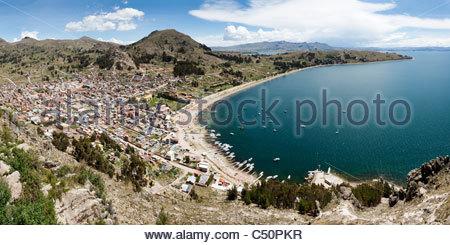 View of Copacabana and Lake Titicaca from Cerro Calvario, Copacabana, La Paz Department, Bolivia - Stock Photo