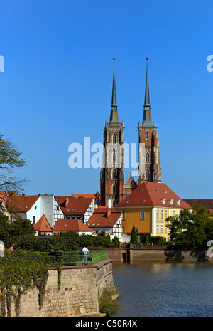The Wroclaw Cathedral on the Cathedral Island (Ostrow Tumski), Wroclaw, Poland - Stock Photo