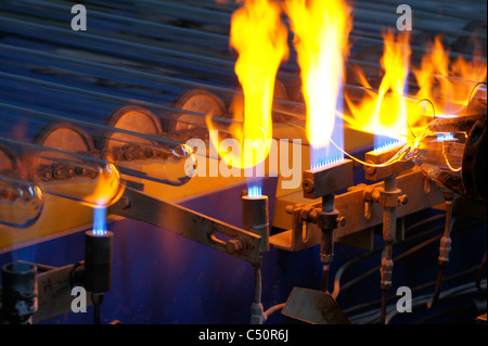 Production process of solar evacuated tube collectors in Shanghai China - Stock Photo