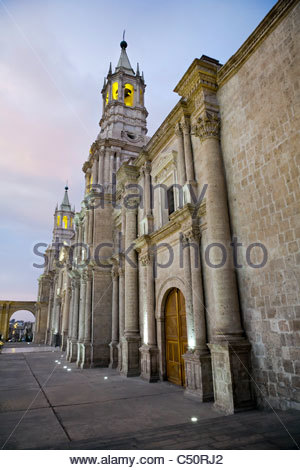 Arequipa Cathedral at sunset on Plaza de Armas, Arequipa, Peru. - Stock Photo