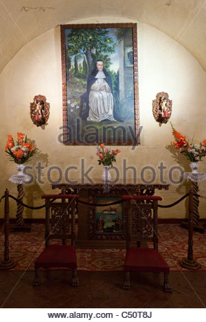 Painting of Sister Ana, or Sor Ana de los Angeles Monteagudo in her former cell at Santa Catalina Monastery, Arequipa, - Stock Photo