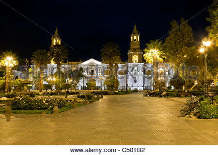 Plaza de Armas at night, Arequipa, Peru. - Stock Photo