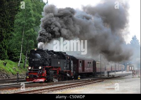 Steam locomotive at Schierke railway station in the Harz region Saxony-Anhalt Germany - Stock Photo