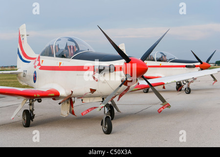 'Wings of storm' (Krila oluje) Croatian air force aerobatic team aircraft lined on an airport apron - Stock Photo