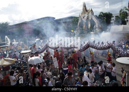 Dragon parade at Samut Sakhon Province in Thailand - Stock Photo
