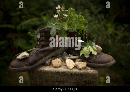 Old boots filled with flowers and plants placed on a boundary stone in the French Way of St. James Way, Galicia, - Stock Photo