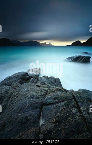 A long exposure scene at Haukland Beach in Lofoten, Norway. - Stock Photo
