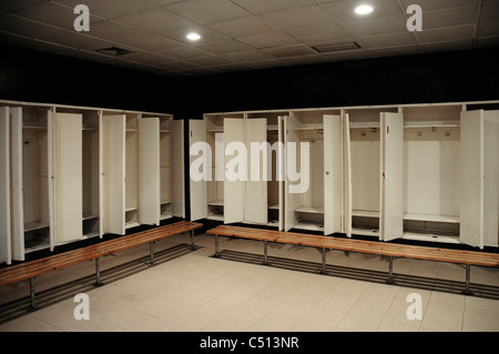 Away team changing room in the Camp Nou football stadium, Barcelona, Spain - Stock Photo