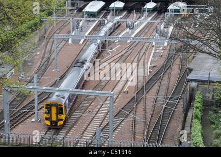 Class 158 diesel multiple unit, Waverley Railway Station, Edinburgh, Scotland, Great Britain, UK - Stock Photo