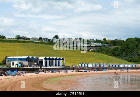 People At A Traditional British Seaside Beach In Summer At