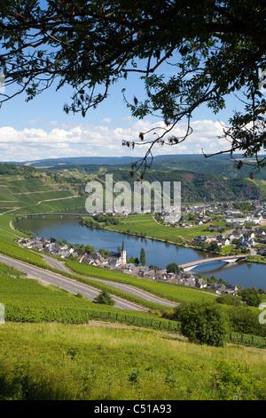 Piesport an der Mosel Mittelmosel, Rheinland-Pfalz, Deutschland, Moselle Mosel river Rhineland-Palatinate Germany - Stock Photo