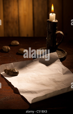 Paper Sheet with Candle - Stock Photo