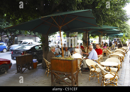 Africa, North Africa, Tunisia, Tunis, Avenue Habib Bourguiba, Outdoor Restaurant - Stock Photo