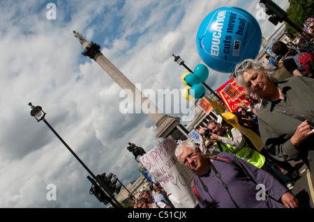 Public sector pensions strike, March passing by Trafalgar Square, London, 30/06/2011, UK - Stock Photo