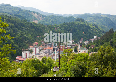 Panorama of Srebrenica - small mountain town and municipality in the east of Bosnia and Herzegovina - Stock Photo