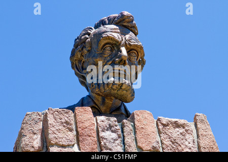 Robert Russi's bronze sculpture of Lincoln's head erected in honor of his 150th birthday on interstate 80 near Laramie, Wyoming.
