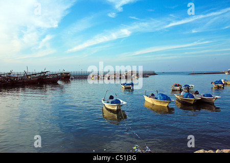 traditional old ships fisher men on a boat in kuwait harbor kuwait city - Stock Photo