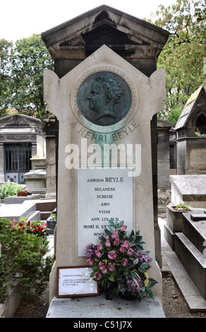 The grave of French writer Marie-Henri Beyle better known as Stendhal (1783-1842) in Montmartre Cemetery, Paris, - Stock Photo