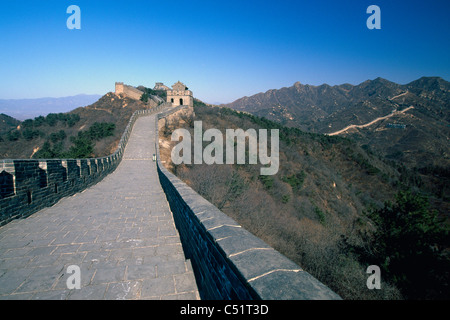 Great Wall of China with Arrow Towers, Badaling Section - Stock Photo