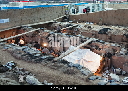 Excavation of the Qing Underground Clay Army, Pit 1, Museum of Terra Cotta Warriors and Horses, Shaanxi, China - Stock Photo