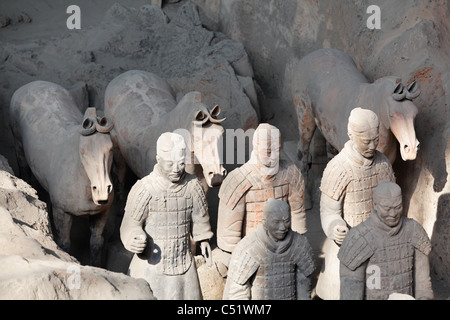 Qing Army Clay Warriors and Horses in Battle Formation, Museum of Terra Cotta Warriors and Horses, Shaanxi, China - Stock Photo
