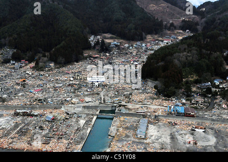 Aerial view of the devastated along the north eastern coast of Japan following a massive earthquake and tsunami. - Stock Photo