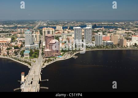 West Palm Beach , Florida downtown city buildings and Royal PArk Bridge - Stock Photo