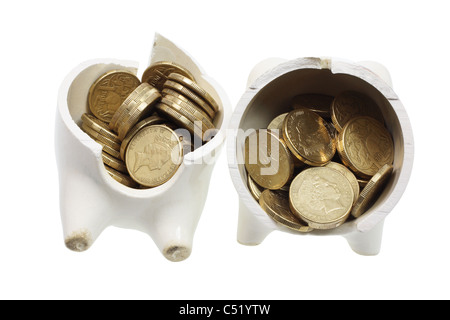 Broken Piggy Bank and Coins - Stock Photo