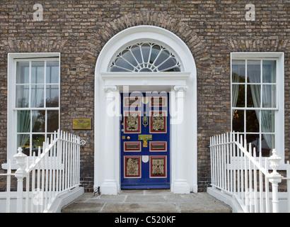 Painted Georgian Dublin Door, Celebrating Dublin - City of Culture 1999, Merrion Square, Dublin City, Ireland - Stock Photo