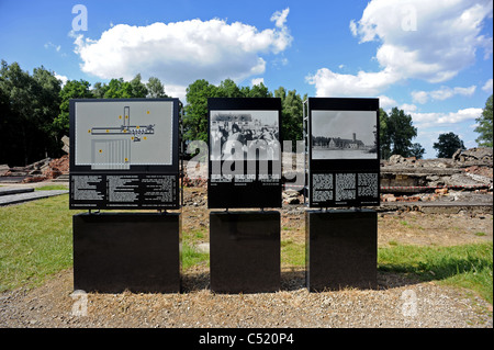 Auschwitz II Birkenau former concentration camp and now a State Museum -Information boards next to the ruins of - Stock Photo