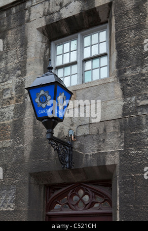 Blue Garda Lamp outside the Garda Museum, Dublin Castle, Ireland - Stock Photo