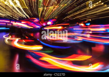 Bumper cars, carousel, light trails, fairground, Erfurt, Thuringia, Germany, Europe - Stock Photo