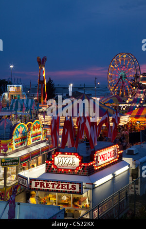 Midway at the Mighty Howard County Fair, Cresco, Iowa - Stock Photo