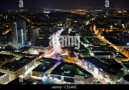 Panoramic view from the Main Tower across Frankfurt am Main at night, colorful lights, illumination, Frankfurt am - Stock Photo