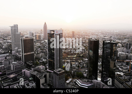 Panorama, financial district, creative, urban, diffuse light, Frankfurt am Main, Hesse, Germany, Europe - Stock Photo