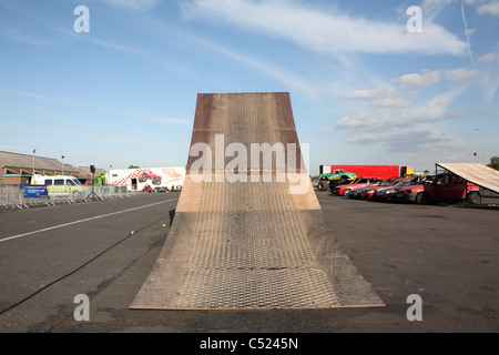 Motor cycle launch ramp at a stunt show - Stock Photo