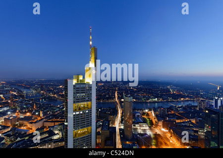 Panorama at dusk, facing south, Sachsenhausen, Main Tower, Frankfurt am Main, Hesse, Germany, Europe - Stock Photo
