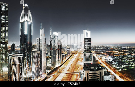 Evening at the Persian Gulf, traffic, city, downtown Dubai, Dubai, United Arab Emirates, Middle East - Stock Photo
