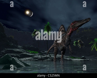 An asteroid impact on the moon while a Spinosaurus wanders in the foreground. - Stock Photo
