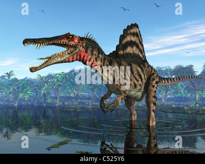 A Spinosaurus searches for its next meal. - Stock Photo