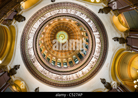 Springfield, Illinois - dome inside of State Capitol - Stock Photo