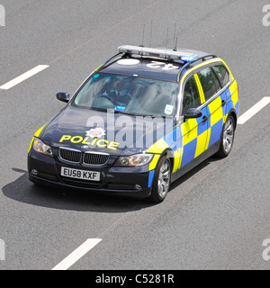 M25 motorway Essex traffic police car arriving at scene of accident - Stock Photo