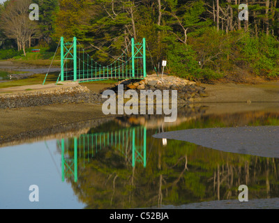 Wiggly walking bridge in York Maine - Stock Photo