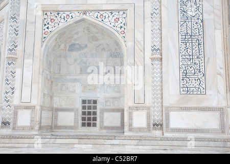 Taj Mahal arch and wall detail - Stock Photo