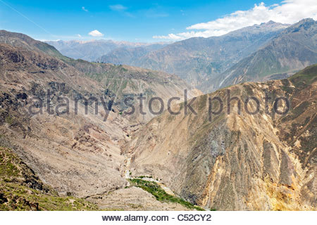 View looking west down the Colca Canyon valley from the trail between Cabanaconde and Sangalle, Peru - Stock Photo