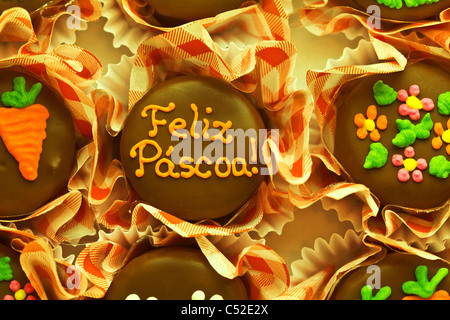 Good Easter words of a chocolate candy (In Portuguese Feliz Páscoa) - Stock Photo