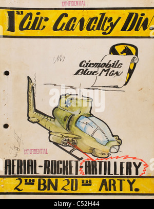 Vietnam War 2nd Battalion, 20th Artillery 1st Air Cavalry Division Airmobile Blue Max after action report art cover. - Stock Photo