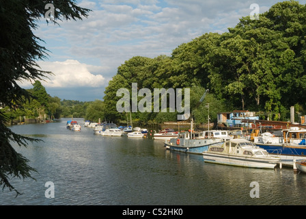River Thames at Twickenham Middlesex. Eel Pie island boat yard. View looking down river towards Richmond and London. - Stock Photo
