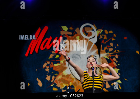 Imelda May performing at The Hop Farm Music Festival, Hop Farm, Kent on Sunday 3rd July 2011 . Persons pictured: - Stock Photo